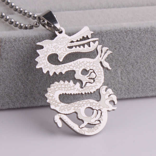 free shipping Silver  big Decorative pattern Dragon 316L Stainless Steel pendant necklaces bead chain for men women wholesale