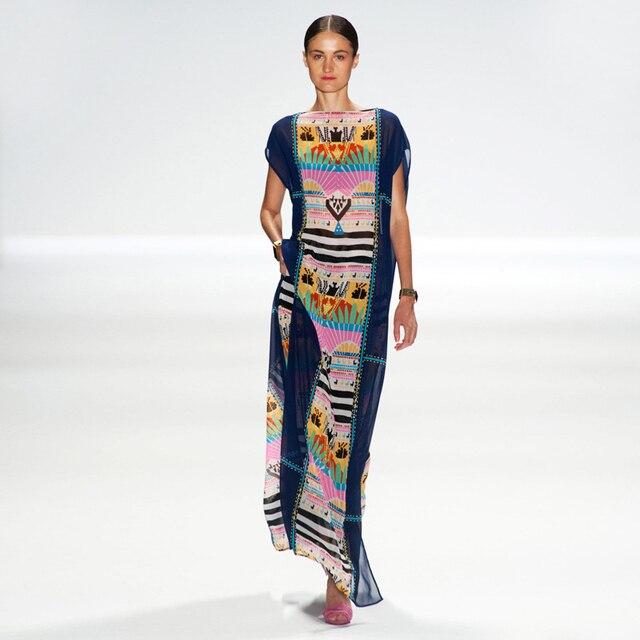d3cc22a46f9eb Saida De Bath Swimwear Female Kaftan Beach Wear Cover Up And Tunics Dresses  Lace Coverups 2018 New Snow Spun Sandy Beaches Print