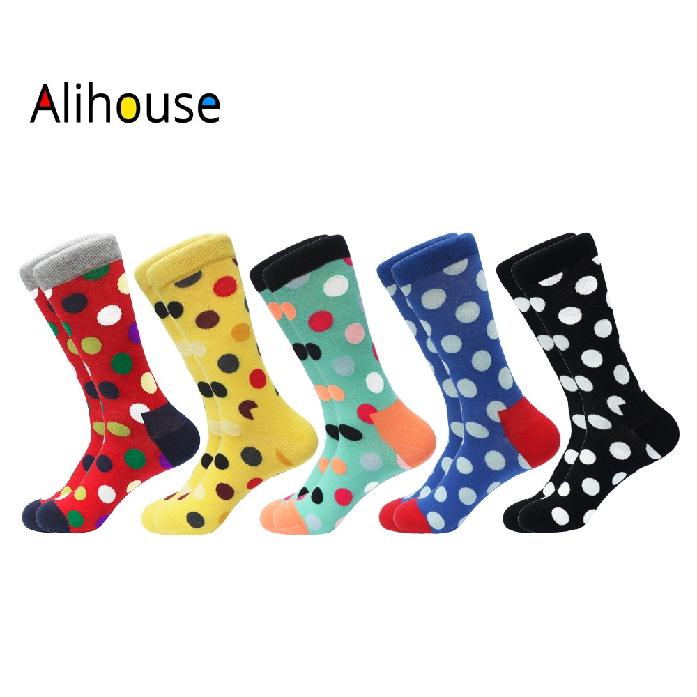 Alihouse Men Socks Happy Socks 5 Pairs/lot Colorful Classic Dots Pattern Combed Cotton Breathable Casual Dress Wedding Socks Men