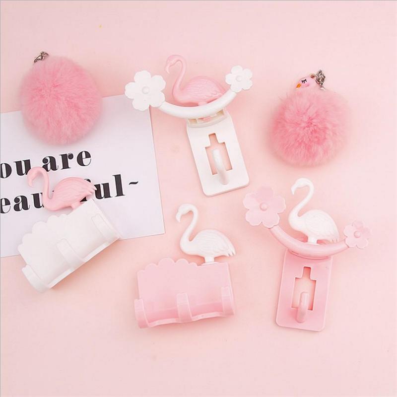 Flamingo Bloem Ontwerp Kleverige Haken Keuken Badkamer Slaapkamer Muur Gemonteerde Opknoping Decor Naadloze Zelfklevende Handdoek Hoed Sleutelhouder