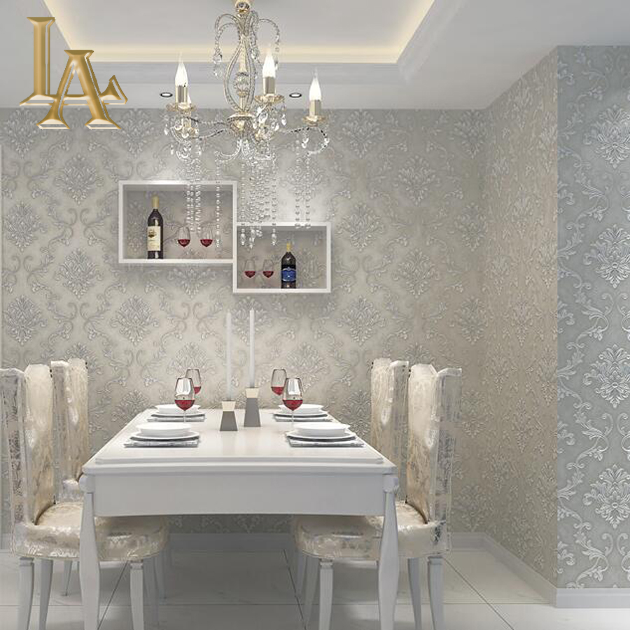 European simple luxury beige grey 3d damask wallpaper for Grey bedroom wallpaper