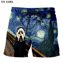 YX Girl 2018 Halloween Style Mens Shorts 3d Print Pumpkin Lantern Men Casual The Scream Painting Trousers