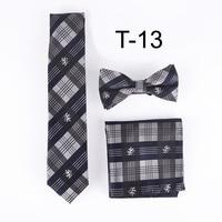 2017 Mode Casual cravate ensemble hommes robe chemise cadeau ensembles 5 cm plaids cravate avec mouchoir noeuds papillon (cravate + Poche carré + Bowtie)