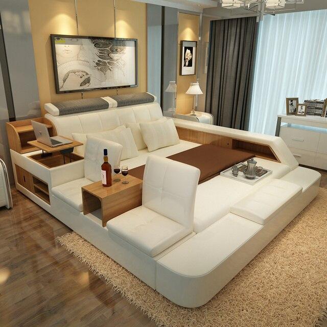 Mobilier De Chambre Fixe Moderne En Cuir Lit Queen Size De Stockage - Cadre de lit moderne