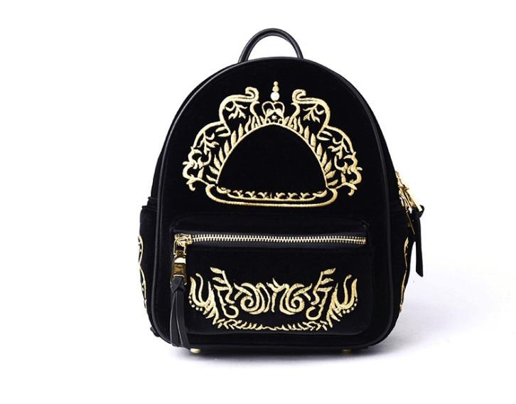 New style women velvet embroider small backpack shool bagNew style women velvet embroider small backpack shool bag