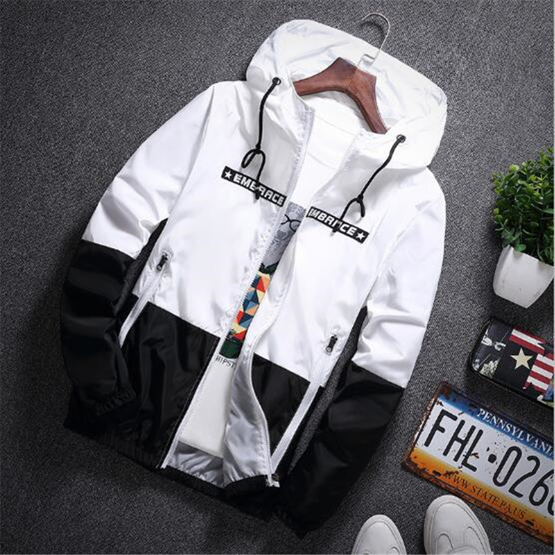 New Spring Autumn Bomber Hooded Jacket Men Casual Slim Patchwork Windbreaker Jacket Male Outwear Zipper Thin Coat Brand Clothing #2