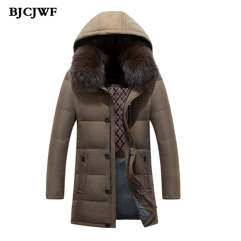 BJCJWF Men winter down jackets 70% white duck down Parkas Fox Fur collar hooded men down coat thickening Business male outerwear