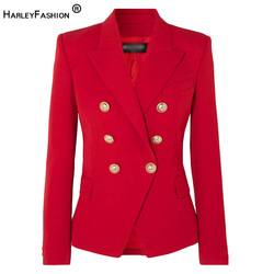 HarleyFashion European American Women Casual Blazer Double Breasted High Quality Plus Size Red Blazers