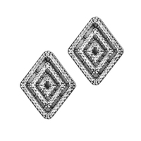 Compatible with Europe jewelry Geometric Lines Stud Earring with Clear CZ Authentic 925 sterling silver jewelry DIY charms JJ897