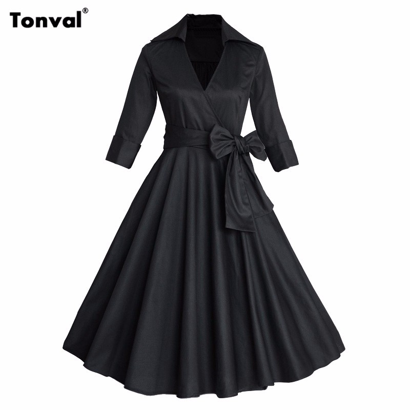 Women Autumn Winter Dress For Formal Evening Party Elegant Bow Casual Dresses Ladies Belted Vintage Polka Dot Retro 50s Dress