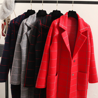 Long Cardigan Women Sweater 2018 New Spring Autumn Winter Long Sleeve Knitted Plaid Cardigans Female Tricot Tops Gray/Red/Black