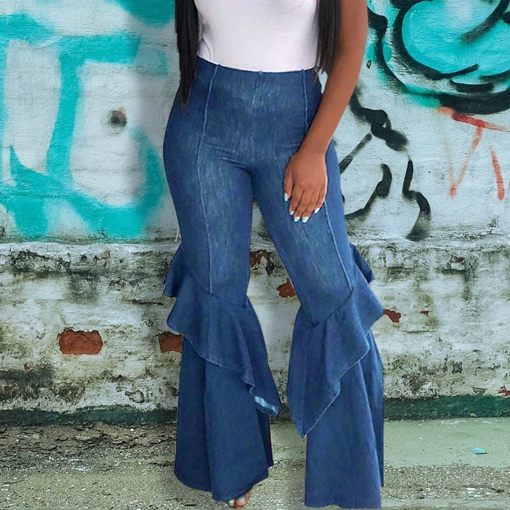 Women 39 s Fashion High Waist Loose and Comfortable Sexy Nightclub Denim Washed Flared Pants Blue Ripped Jeans for Women S 2XL in Jeans from Women 39 s Clothing