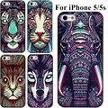 Embossment efeito 3d pintura animais caso para iphone 5s capa para iphone 5 casos rígido de volta o transporte da gota