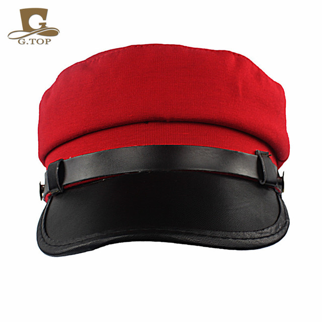 2ad54647550af6 ... denmark fashion unisex army cadet military navy sailor cap flat caps top  beret hat leather buckle