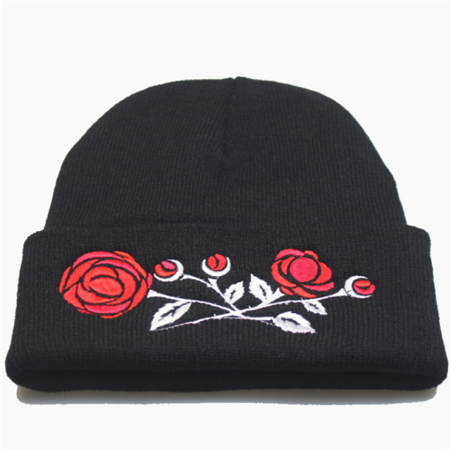 Fashion Women s Hats Floral Embroidery Autumn Winter Beanies Hats For Women  Warm Outdoor Ski Sport Hat Female Caps touca inverno 2a4c18187