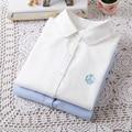 Verão 2015 Da Marca Casual Blusa de Algodão de Manga Longa Mulheres Blusas Turn Down Collar Mulheres Camisas Blusas Brancas Camisas Femininas