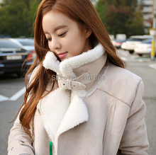 Hot sale new 2015 South Korean women's winter coat thicker Slim new large lapel wool lamb suede motorcycle jacket to keep warm