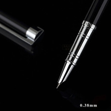 купить Stationery Promotion Jinhao 126 Luxury Metla Gift Pen 0.38mm Extra Fine Nib Fountain Pen  Black Silver Ink Pens Christmas Gift дешево