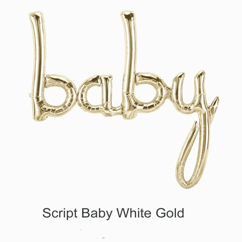Image 2 - Jumbo White Gold Baby Balloon Baby Boy Script Balloon Baby Shower Air Fiol Helium Balloon Gender Reveal Decorations-in Ballons & Accessories from Home & Garden