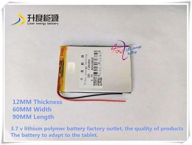 SD 126090 de iões de lítio polímero de 3.7 V 8000 mAH/bateria Li-ion para tablet pc, GPS, BANCO de POTÊNCIA