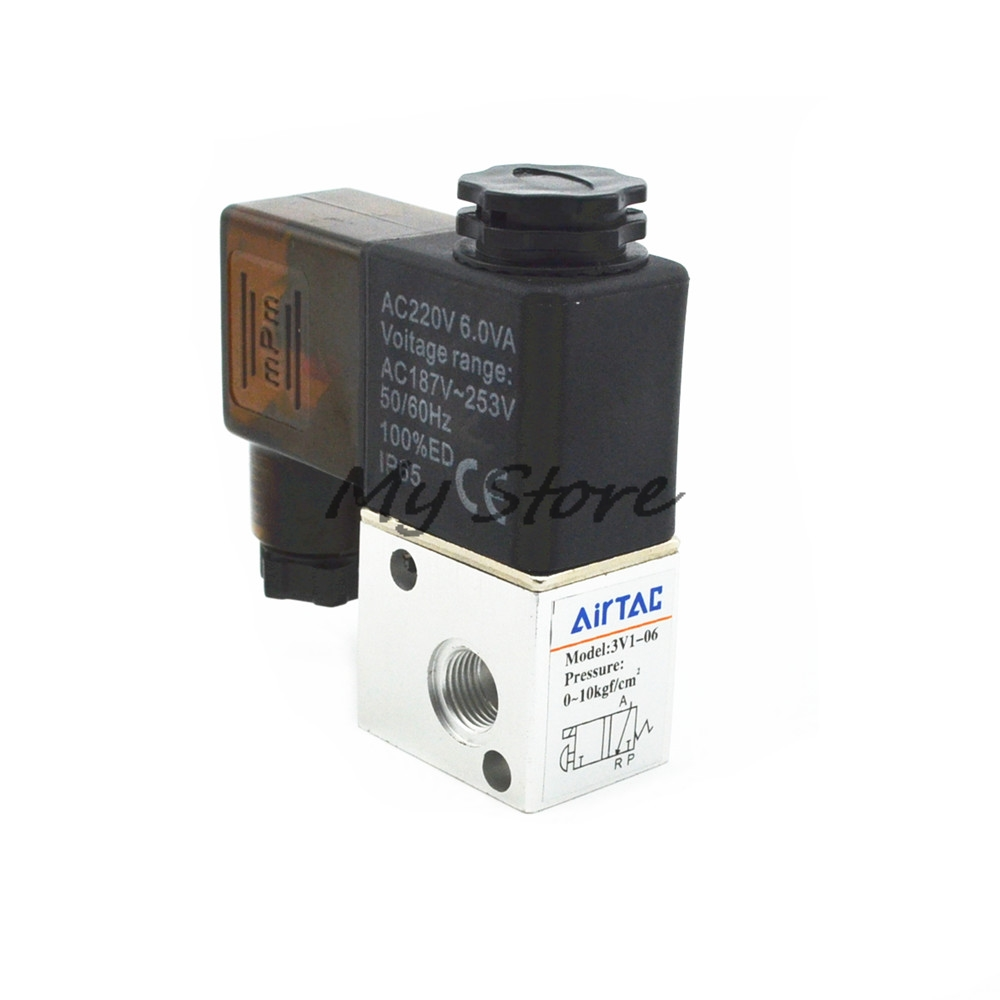 Pneumatic Solenoid Air Valve 3 Way 2 Position NC 1/8PT 3V1-06 DC12V DC24 AC110 AC220V free shipping solenoid valve with lead wire 3 way 1 8 pneumatic air solenoid control valve 3v110 06 voltage optional
