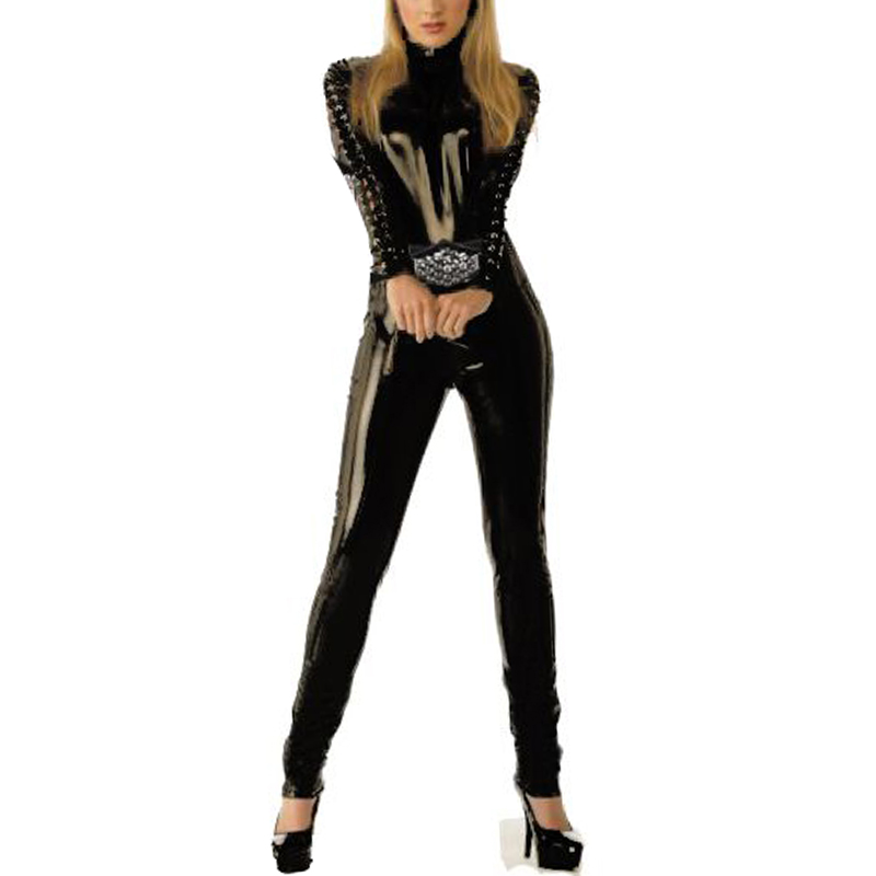 Sexy Woman Wet Look Vinyl Leather Full Body Overalls Full Length Skinny Black Latex Catsuit Jumpsuit Hot Night Club Bodysuit