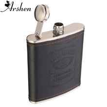Arshen Durable 7oz Stainless Steel Hip Flask Flagon Whiskey Wine Pot Leather Cover Bottle Travel Tour Barware High Quality