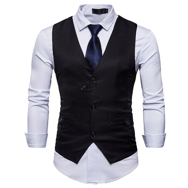 Mens Formal Business Suit Vest 2018 Spring New Slim Fit Sleeveless Male Waistcoat Wedding Classic Colete Masculino Social Blazer