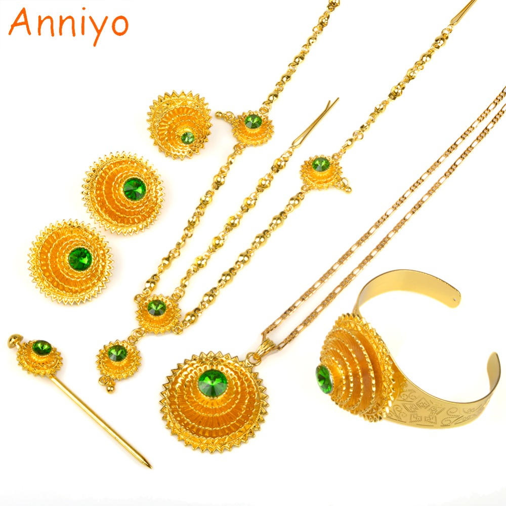 Anniyo Ethiopian Jewelry set Gold Color Green Stone With Hair Piece Hair Pin Women Fashion Eritrea