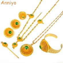 Anniyo Ethiopian Jewelry set Gold Color Green Stone With Hair Piece Hair Pin Women Fashion Eritrea Habesha African #002117