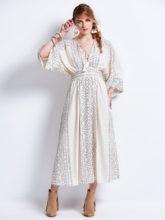 Высокое качество модные дизайнерские взлетно-посадочной полосы Макси платье Для женщин с рукавами «летучая мышь» в богемном стиле Boho пляж печати V шеи ремень с бахромой