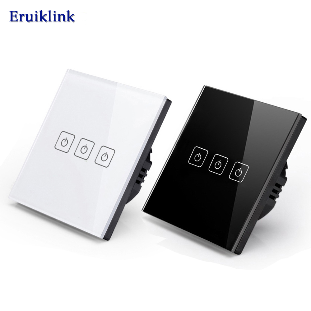 EU/UK Standard Eruiklink Touch Switch 3 Gang 1 Way,Wall Light Touch Screen Switch,Crystal Glass Switch Panel, Lamp Touch Switch eu uk standard touch switch 3 gang 1 way wall light touch screen switch crystal glass switch panel popular