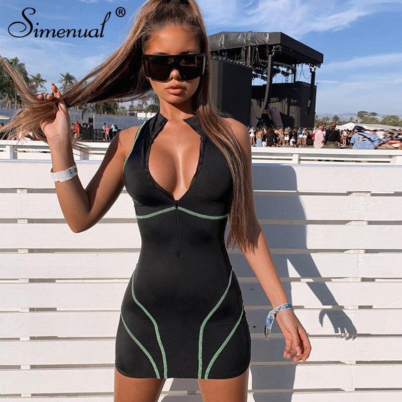 Simenual Neon Farbe Fitness Casual Playsuits Frauen Active Wear Kurzarm Sportliche Spielen Anzug Biker Shorts Stehkragen Overalls Herrenbekleidung & Zubehör