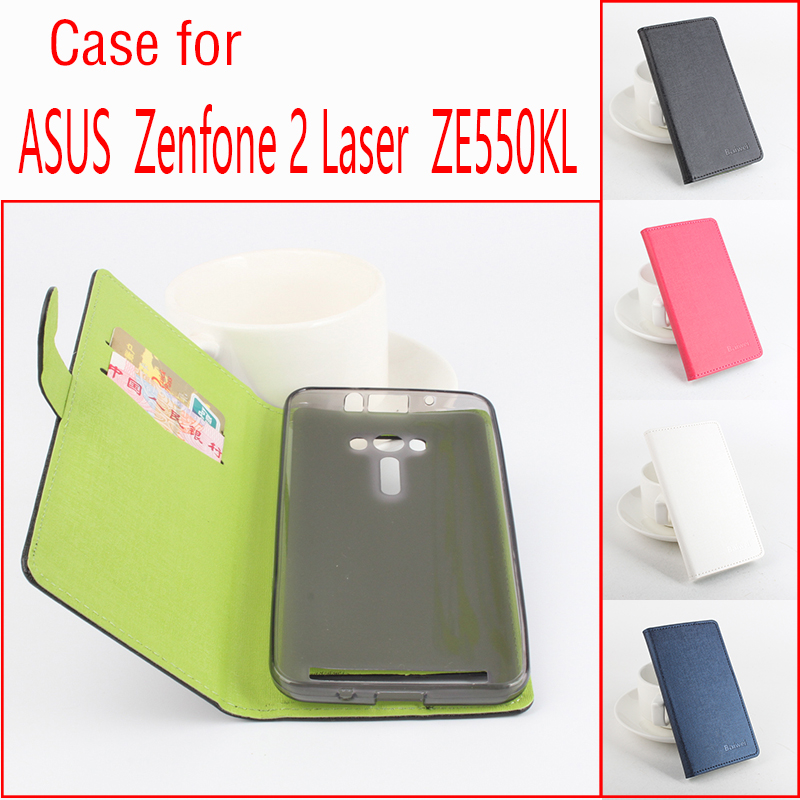 luxury Left Right Flip Hit color 2 Card Slots With Cover Leather case For ASUS Zenfone 2 Laser ZE550KL 5.5 Smartphone