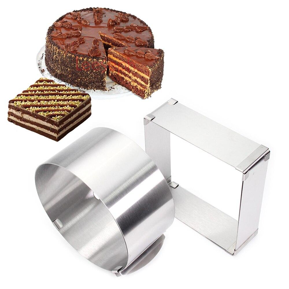 Edelstahl Einstellbare Kuchen Mousse Ring, Runde & Platz Kuchen Form set von 2, geeignet für hochzeit weihnachten kuchen