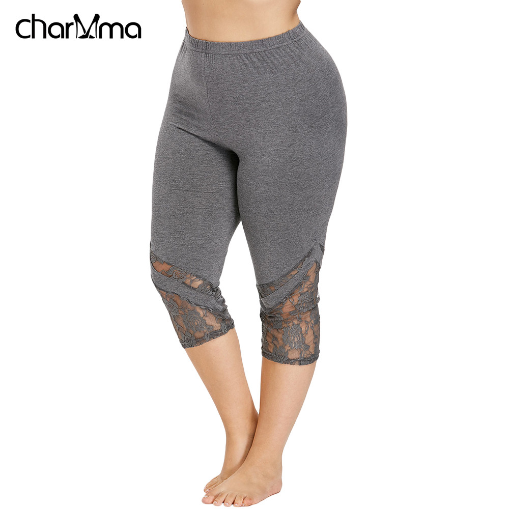 Lace Trim Capri Plus Size Leggings Women Sexy Fitness Legging Calf-Length Pants Women Summer Workout Leggings Push Up Leggings