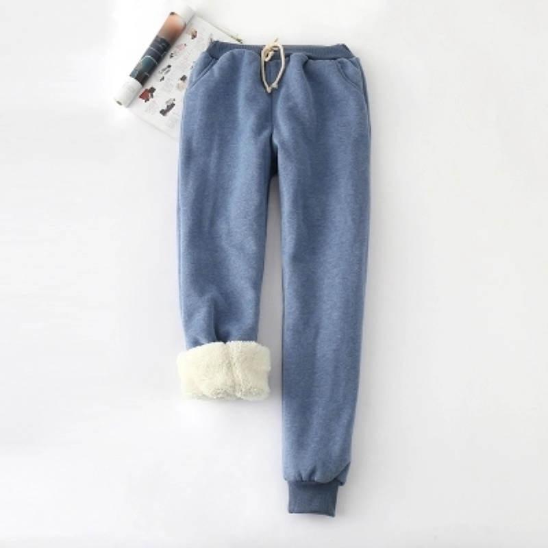 2019 Winter Cashmere Harem Pants Women Thick Warm Lambskin Cashmere Causal Trousers Female Basic High Waist Sport Pant