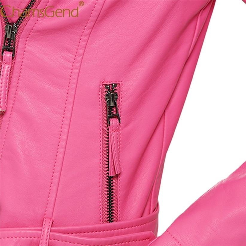 Diseño 71013 Corto Chamsgend Pu Rosa Pink Mujeres Chaqueta Caliente Drop Cuero Nuevo Hot Cosecha Corta Top Shipping qFwgx5wC6