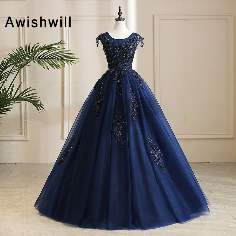 Modest Navy Blue Long   Prom     Dress   Cap Sleeve Beaded Appliques Tulle Lace-up Back Ball Gown Gala Evening Gowns Real Photos