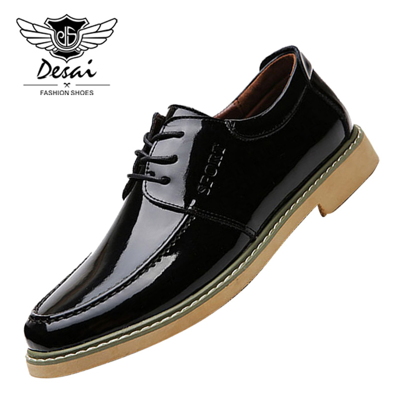 DESAI Brand Men's Business Casual Shoes Genuine Leather Man Tooling Shoes Lace Up Men Dress Low Shoes for Spring Autumn Winter benzelor men shoes 2017 spring autumn genuine leather business casual shoes quality brand massage sole black brown color hl67624