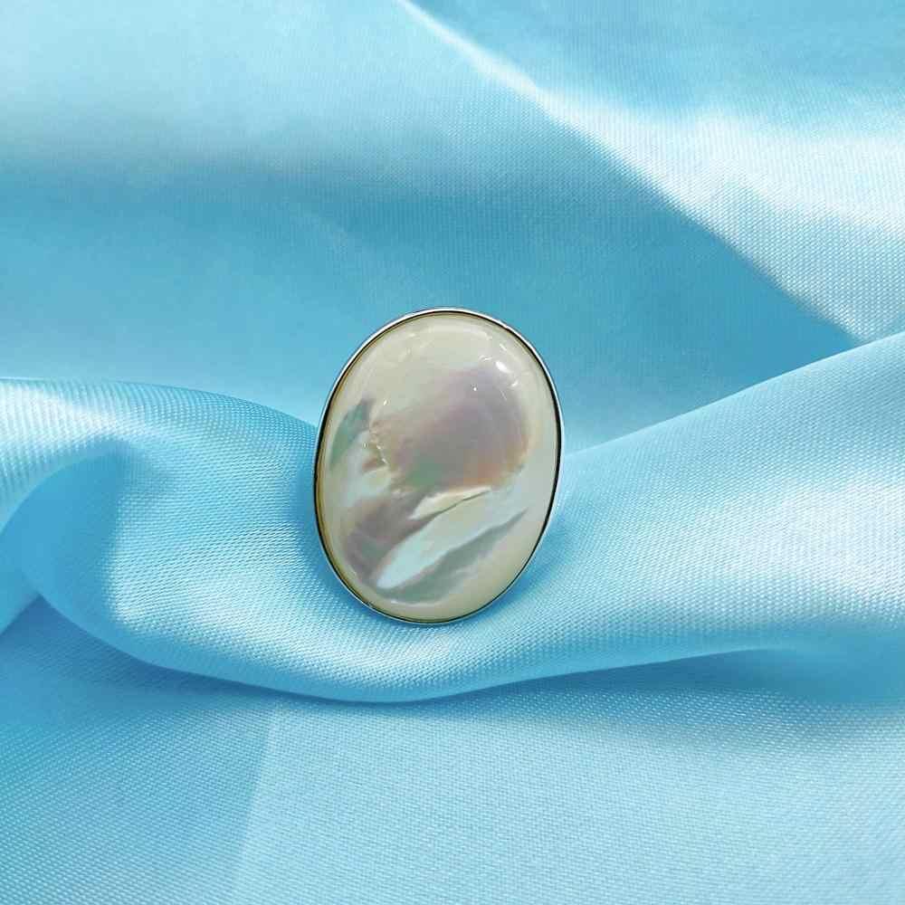 Hutang 33x24mm Tự Nhiên Xà Cừ Nhẫn Cưới Chắc Chắn Nhẫn Bạc 925 Ngọc Trai Trang Sức cho phụ nữ Tặng Mới