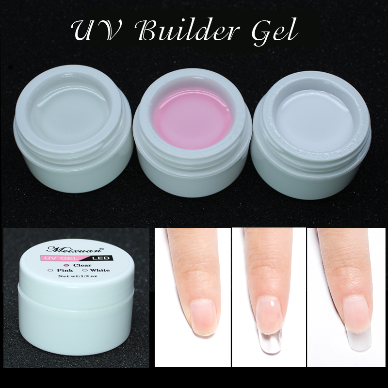 1PC UV Gel Builder Pink White Clear Transparent 3 Color Options Nail Art Tips Gel Nail Manicure Extension 1 roll 10m clear nail double side nail adhesive tape strips tips transparent manicure nail art tool