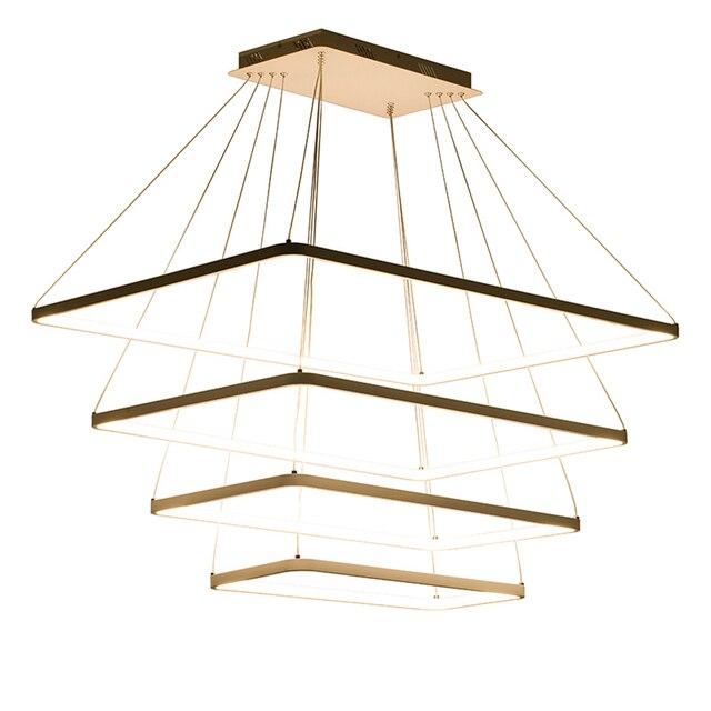 Modernen Quadratischen LED Kronleuchter Dimmbar Ring Rechteck Lichter  Einfache Lampe Dinning Wohnzimmer Toolery Hängenden Tropfen