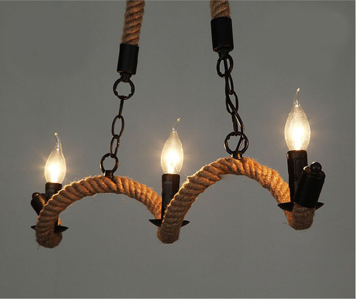 Retro Vintage Rope Pendant Light Lamp Loft Creative Personality Industrial Lamp Edison Bulb American Style For Living Room