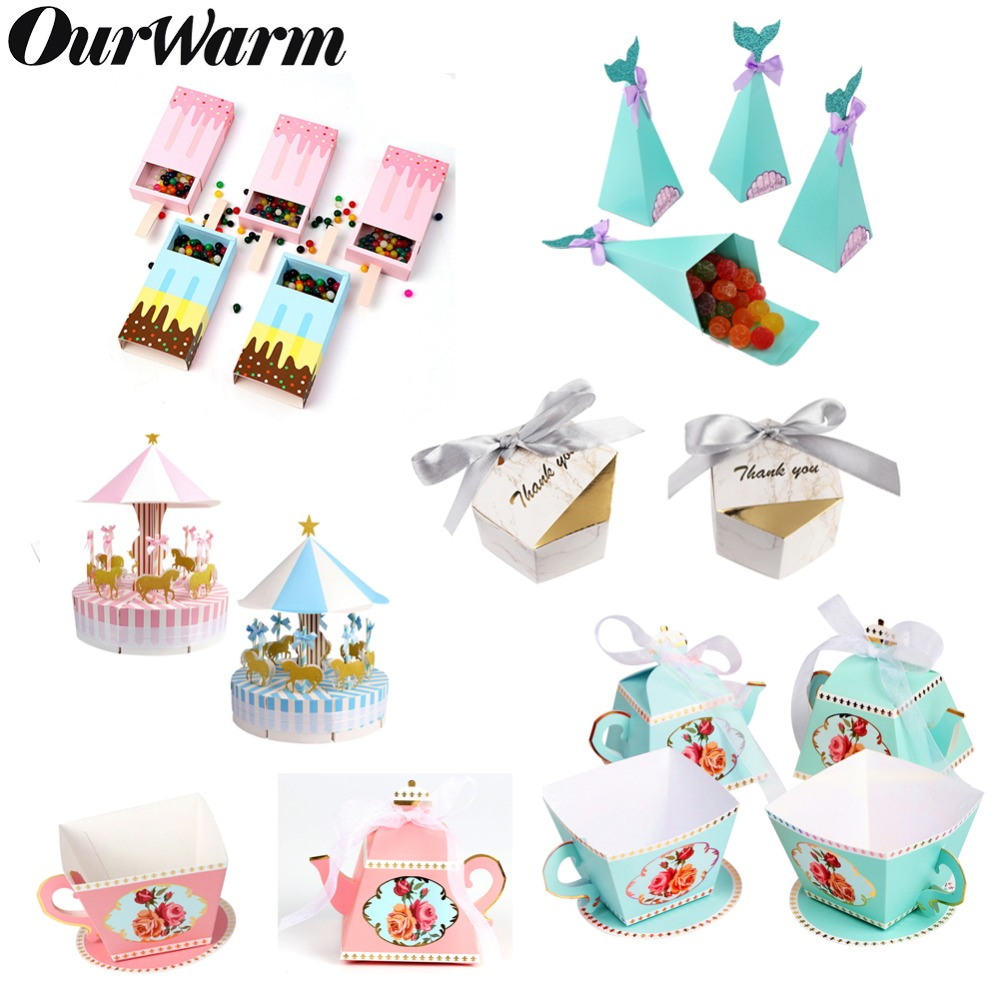 OurWarm Wedding Party Candy Box Mermaid Ice Cream Gift Favor Boxes For Kids Birthday Paper Gift Bags Baby Shower Favor Supplies