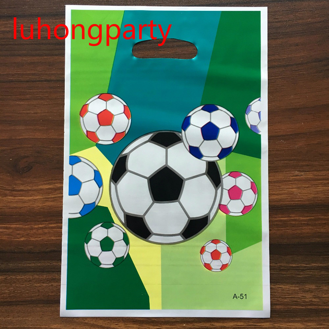 20pcs 25 15cm Football Printed Plastic Gift Candy Bags Ping Bag For Kids
