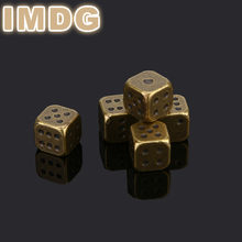 5 Pcs / Set 2018 New Metal Dice Silver Bronze Golden dice Bar Supplies KTV Mahjong Chess Dice 13mm(China)