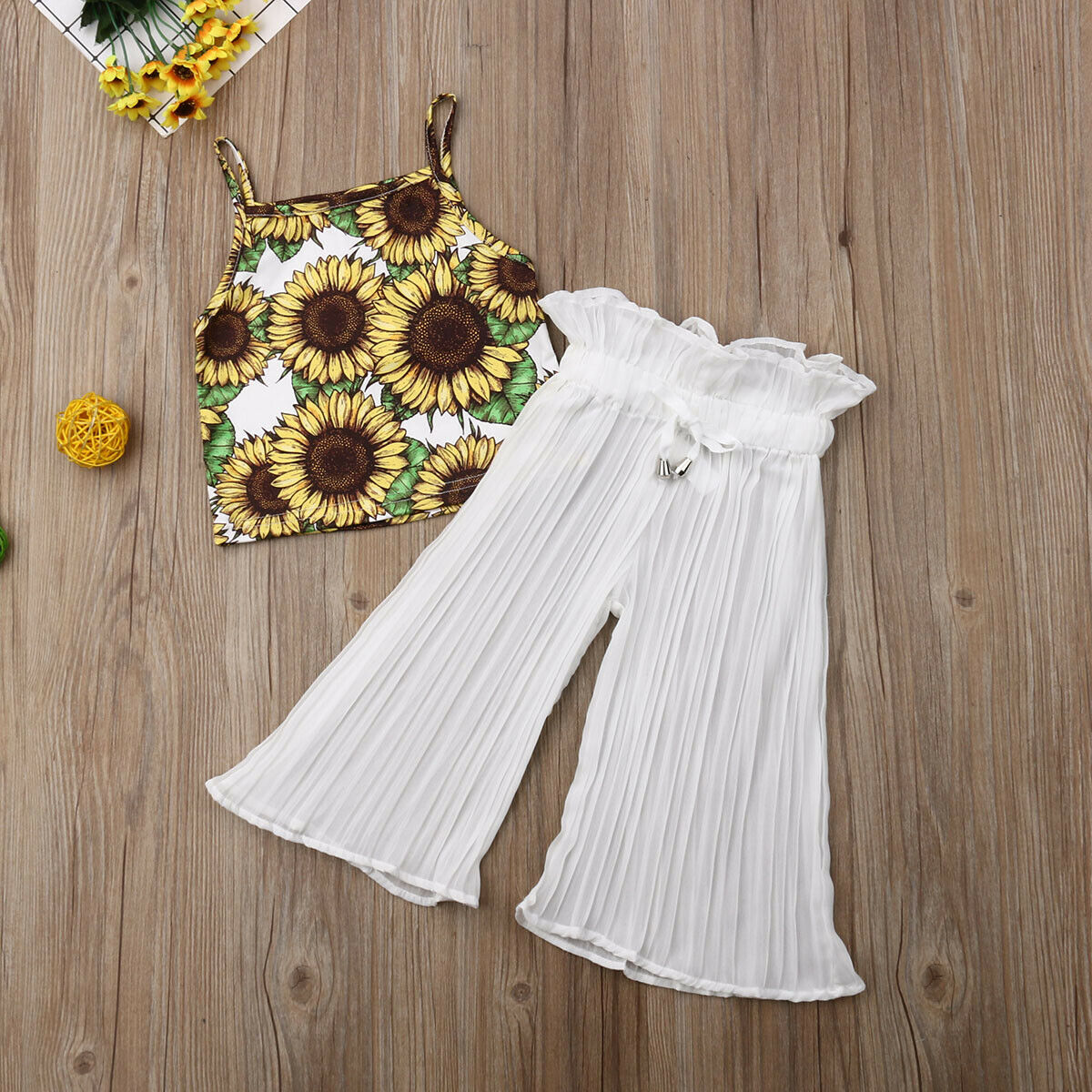 2 7Years Toddler Kid Baby Girls Clothing Set Sunflower Vest Ruffles Chiffon Pants Outfits Summer Beach Holiday Child Costumes in Clothing Sets from Mother Kids