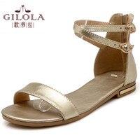 2016 New Flat Women S Sandals Ladies Genuine Leather Women Sandals Summer Shoes Woman White Black