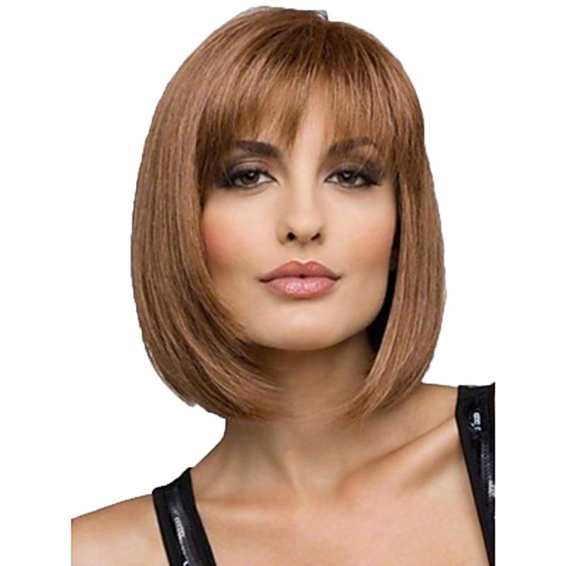 PENTEADO Mulheres Synthetic Wigs Brown Curto Direto Bob Penteado Resistente Ao Calor Completa Peruca de Cabelo Freeshipping
